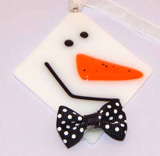 Snowman ornament with bowtie