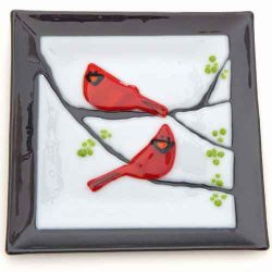 fused glass dish featuring Cardinals