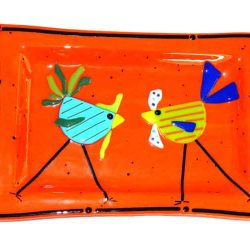 dish featuring whimiscal chickens