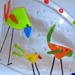 fused glass strutting birds