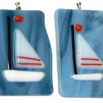 fused glass ornament featuring a sail boat