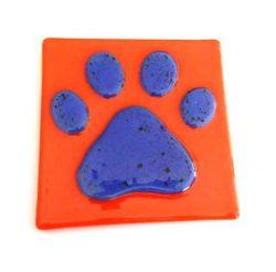 orange paw print coaster