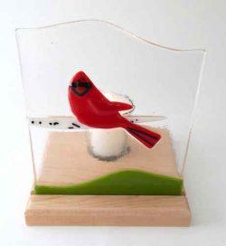 cardinal on birch branch candel holder