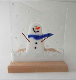 maple base with fused glass snowman