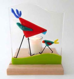 fused glass red and teal birds on maple base