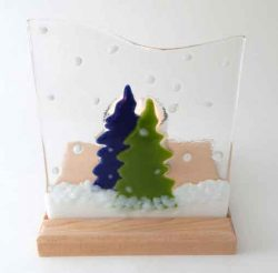 fused glass candle holder with green and blue trees
